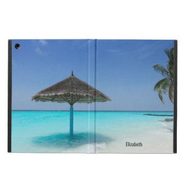 Scenic Tropical Beach with Thatched Umbrella iPad Air Cover
