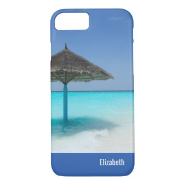Scenic Tropical Beach with Thatched Umbrella iPhone 7 Case
