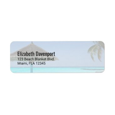 Beach Themed Scenic Tropical Beach with Thatched Umbrella Label