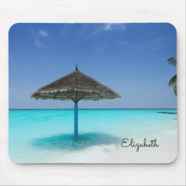 Beach Themed Scenic Tropical Beach with Thatched Umbrella Mouse Pad