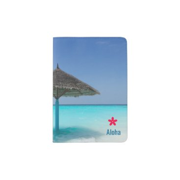 Scenic Tropical Beach with Thatched Umbrella Passport Holder