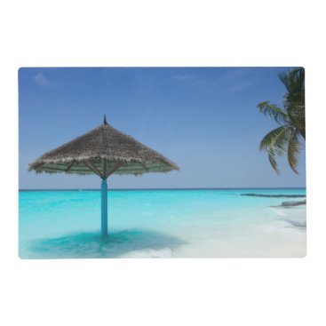 Scenic Tropical Beach with Thatched Umbrella Placemat