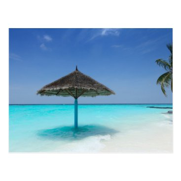 Beach Themed Scenic Tropical Beach with Thatched Umbrella Postcard