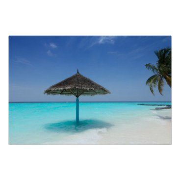 Beach Themed Scenic Tropical Beach with Thatched Umbrella Poster