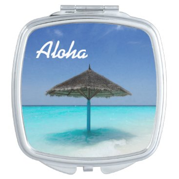 Beach Themed Scenic Tropical Beach with Thatched Umbrella Vanity Mirror