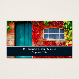 Scenic Turquoise Door with Vivid Autumn Leaves Business Card