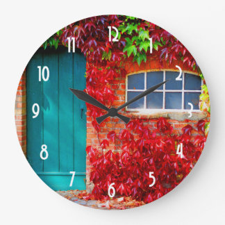 Scenic Turquoise Door with Vivid Autumn Leaves Large Clock