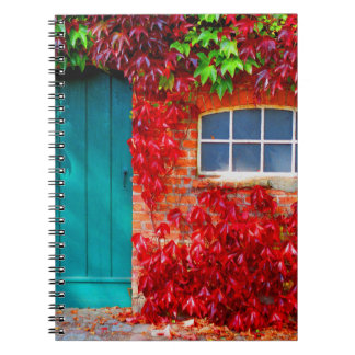 Scenic Turquoise Door with Vivid Autumn Leaves Spiral Notebook