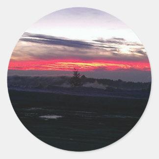 Scenic Twilight Night time Vibrant Sunset Sky Classic Round Sticker