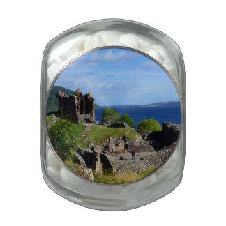 Scenic Urquhart Castle Ruins Glass Candy Jars