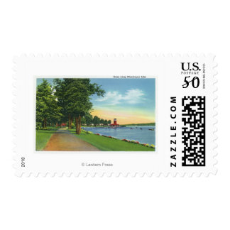 Scenic View along the Lake Postage