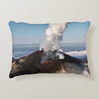 Scenic view of active volcano decorative pillow