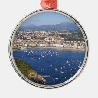 Scenic view of beautiful San Sebastian coastline Metal Ornament