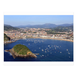 Scenic view of beautiful San Sebastian coastline Post Cards