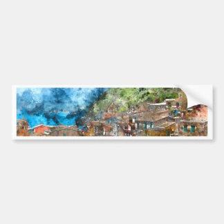 Scenic view of colorful village Vernazza and ocean Bumper Sticker