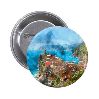Scenic view of colorful village Vernazza and ocean Pinback Button