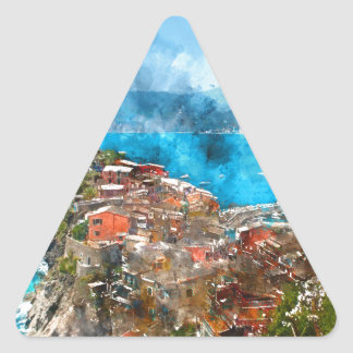 Scenic view of colorful village Vernazza and ocean Triangle Sticker