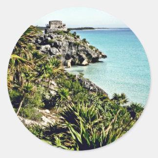 Scenic View Of Gulf Of Mexico And El Castillo At T Classic Round Sticker