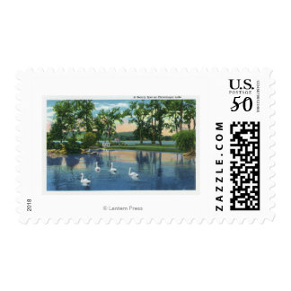 Scenic View of Swans on the Lake Postage