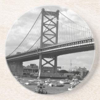 Scenic view of the Ben Franklin Bridge Sandstone Coaster