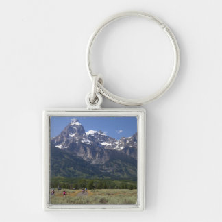Scenic view of the Teton Range Silver-Colored Square Keychain