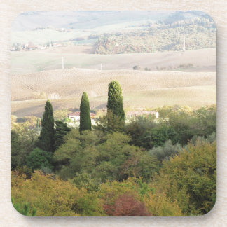 Scenic view of typical Tuscany landscape Drink Coasters