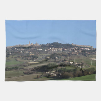 Scenic view of typical Tuscany landscape in winter Towels