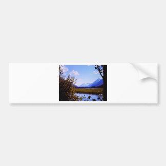 Scenic vintage Alaskan mountain view Bumper Sticker