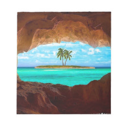 Scenic water and palm trees notepad
