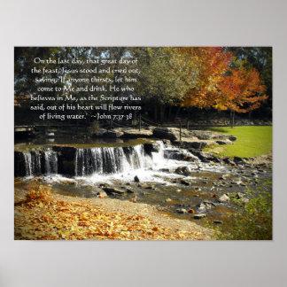 Scenic Waterfall John 7:37 Poster