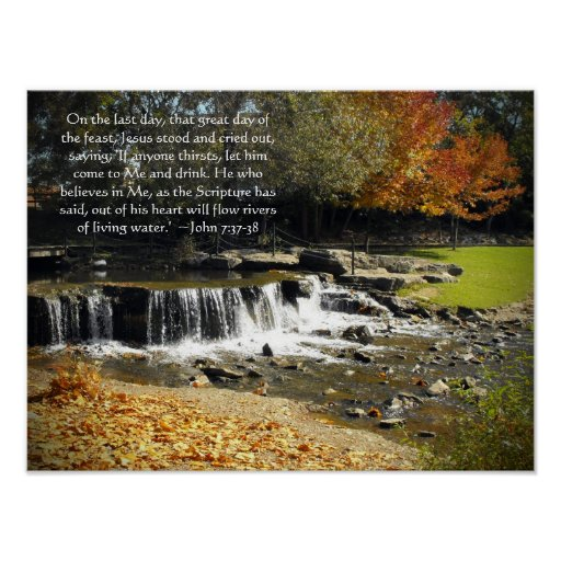 Scenic Waterfall John 7:37 Posters