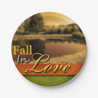 Scenic Wedding Fall In Love Autumn Rustic Photo Paper Plate