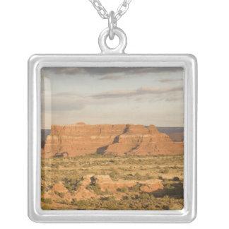 Scenic winter desert landscape on the way into square pendant necklace