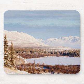 Scenic winter landscape at Lake Laberge, Yukon Mouse Pad
