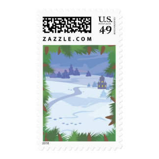 Scenic Winter View USPS Christmas Stamps 2014