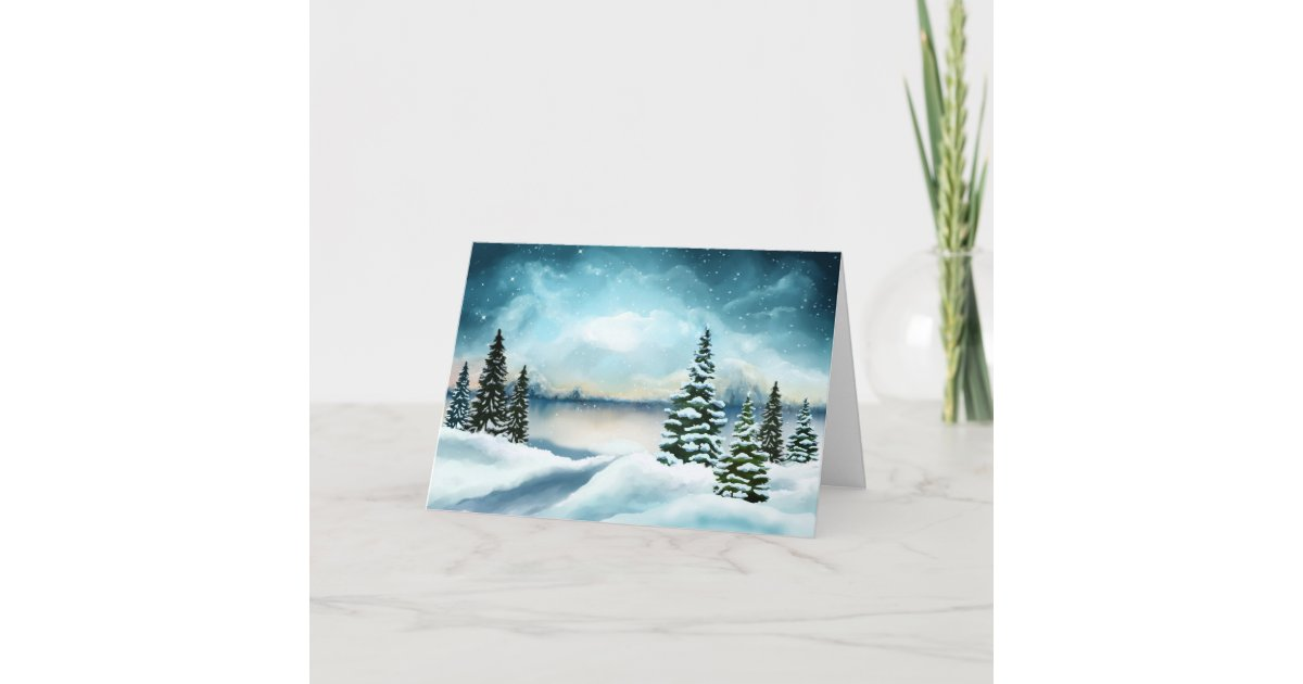 Watercolor Christmas Cards.Scenic Winter Wonderland Watercolor Christmas Card Zazzle Com