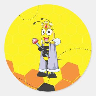 Scepter sonriente feliz amarillo lindo de la pegatina redonda