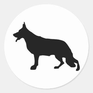 Schäferhund-Hundeschwarzes Pegatina Redonda