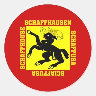 Schaffhausen Switzerland Canton Flag Round Stickers