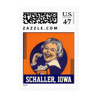 Schaller Iowa IA popcorn girl vintage color Stamps