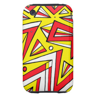 Schartz Abstract Expression Yellow Red Black Tough iPhone 3 Cases
