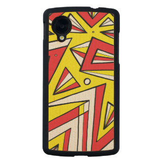Schartz Abstract Expression Yellow Red Black Carved® Maple Nexus 5 Case