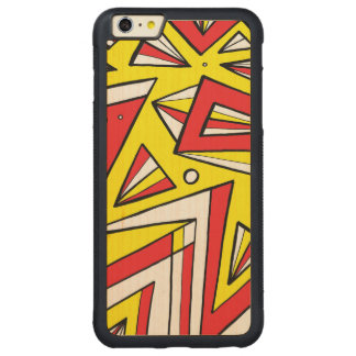 Schartz Abstract Expression Yellow Red Black Carved® Maple iPhone 6 Plus Bumper Case
