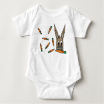 sweet dunkey with carrots baby bodysuit
