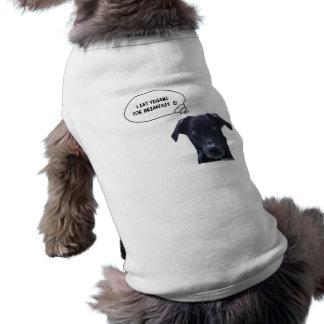 Schatzi dice: Yo como a los veganos para el desayu Playera Sin Mangas Para Perro
