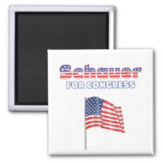 Schauer para la bandera americana patriótica del c imán cuadrado