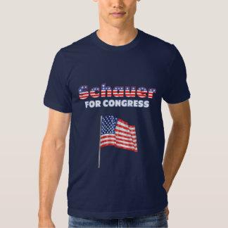 Schauer para la bandera americana patriótica del playera