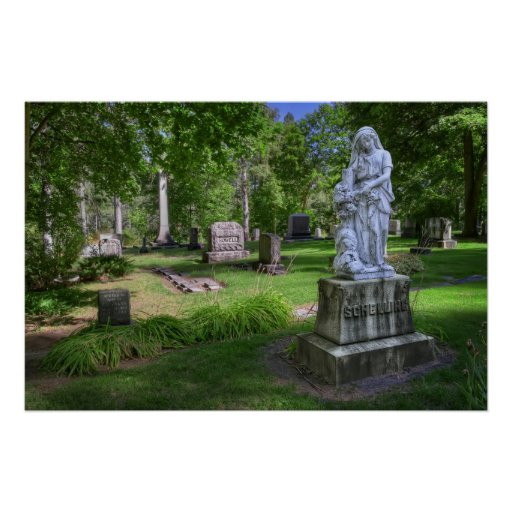 Schelling Family Grave Statue - Greenwood Cemetery Posters