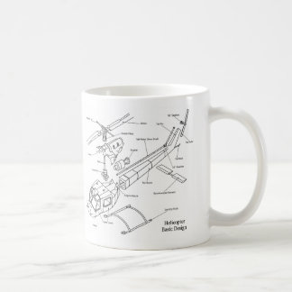Schematic of the Major Components in a Helicopter Classic White Coffee Mug