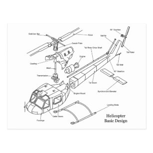 Schematic of the Major Components in a Helicopter Postcard on